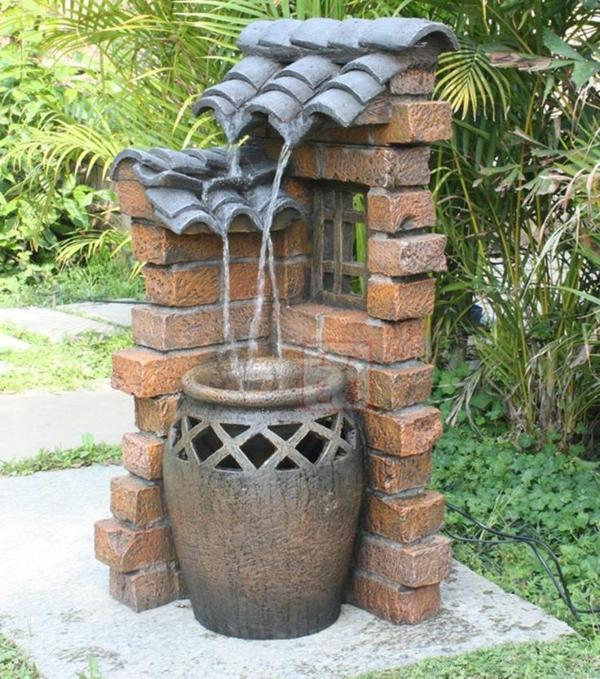 fabriquer déco jardin en tuiles de terre cuite fontaine diy
