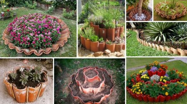 fabriquer déco jardin en tuiles de terre cuite jardinières diy