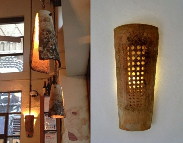 fabriquer déco jardin en tuiles de terre cuite luminaire diy