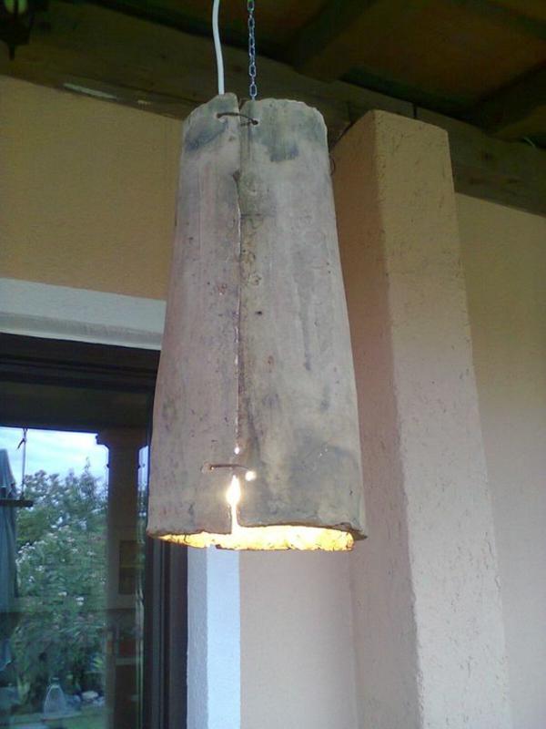 fabriquer déco jardin en tuiles de terre cuite luminaire suspension diy