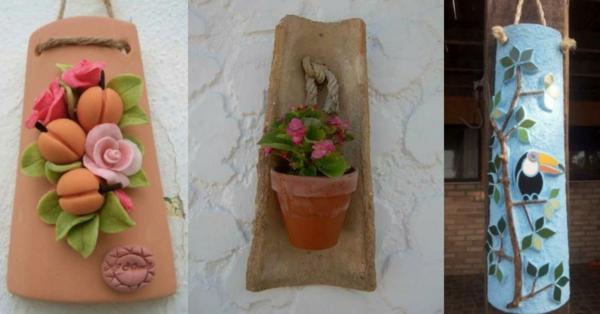 fabriquer déco jardin en tuiles de terre cuite panneau mural diy