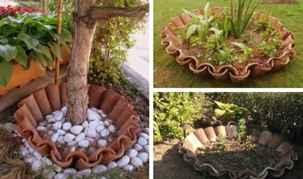 fabriquer déco jardin en tuiles de terre cuite pots de plantes diy