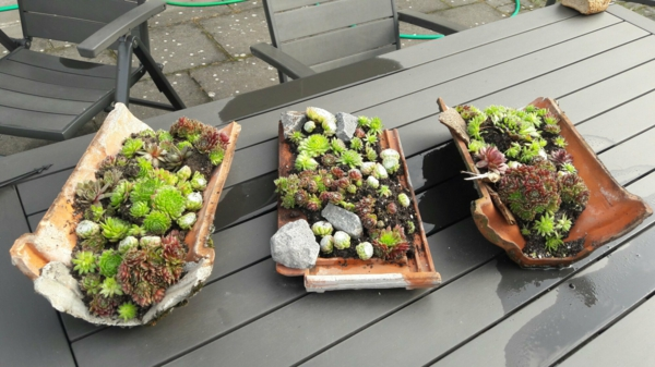 fabriquer déco jardin en tuiles de terre cuite récipients à plantes succulentes diy