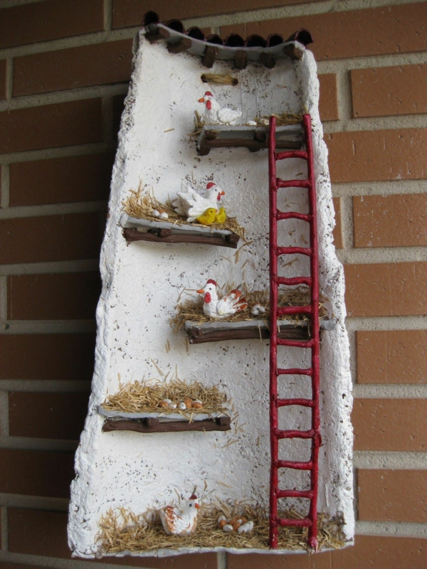 fabriquer déco jardin en tuiles de terre cuite toile décorée diy