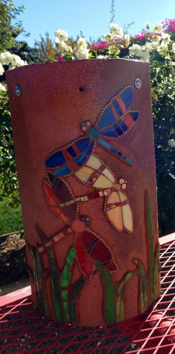fabriquer déco jardin en tuiles de terre cuite tuile en argile décorée