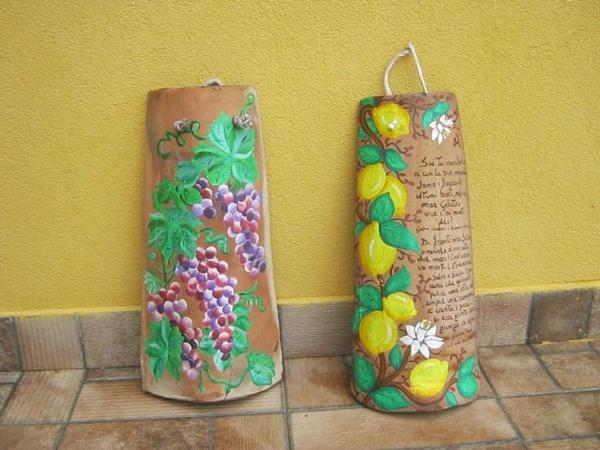 fabriquer déco jardin en tuiles de terre cuite tuiles desinées