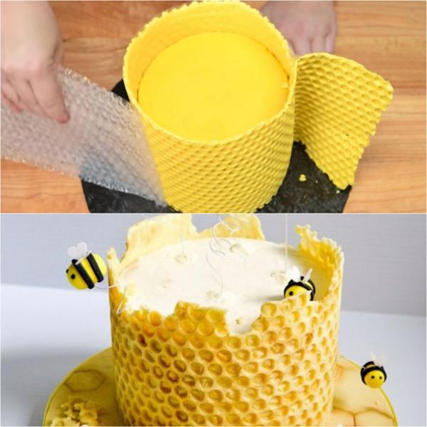 gâteau nid d'abeille papier bulle