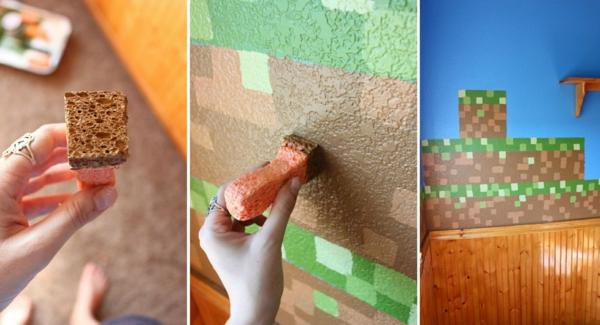 idée déco murale technique peinture à l'éponge