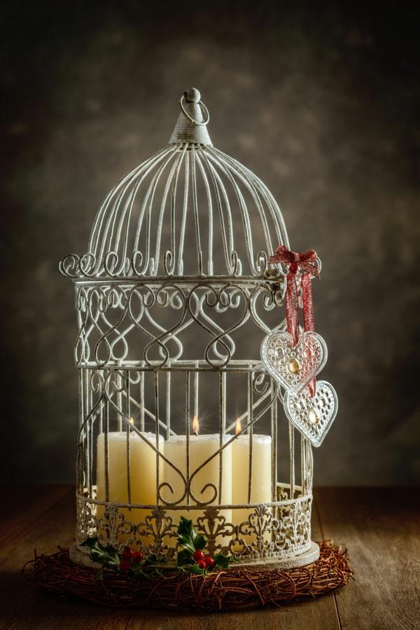 idée déco noël chandelier déco cage oiseau