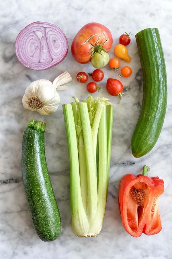 ingrédients pour préparer la recette gaspacho