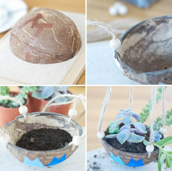 jardinière à suspendre faite à partir de noix de coco