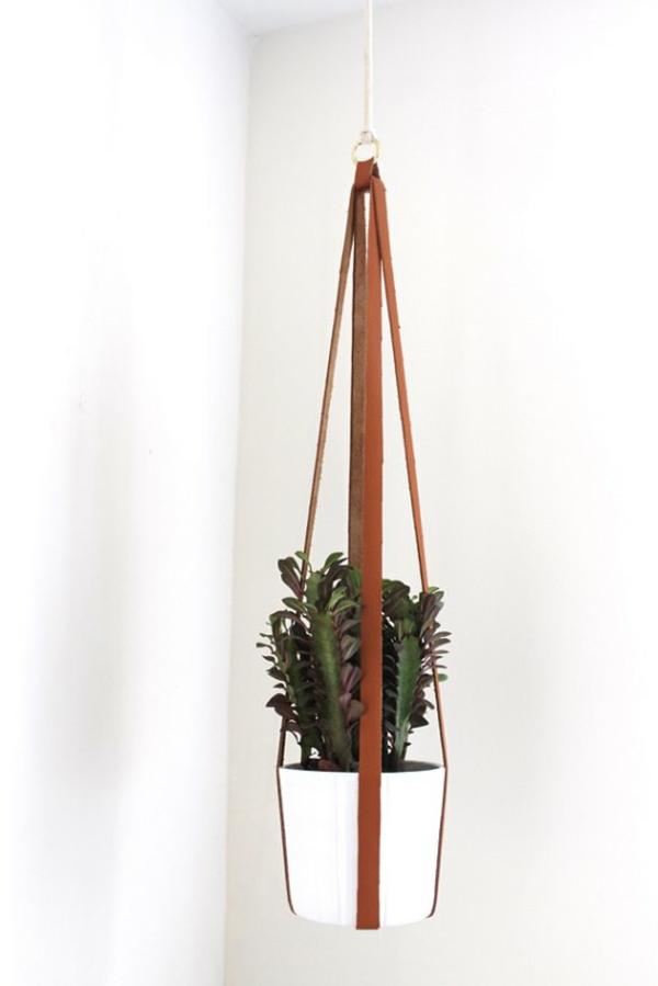 jardinière suspendue à fabriquer soi-même bande en cuir