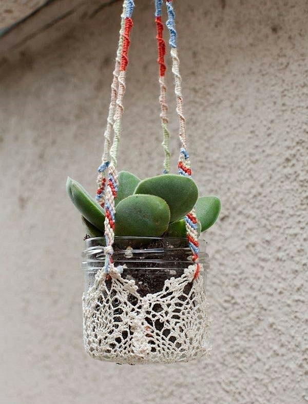 jardinière suspendue à fabriquer soi-même bocal en verre macramé
