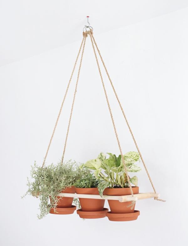 jardinière suspendue à fabriquer soi-même bois corde pots en terre cuite