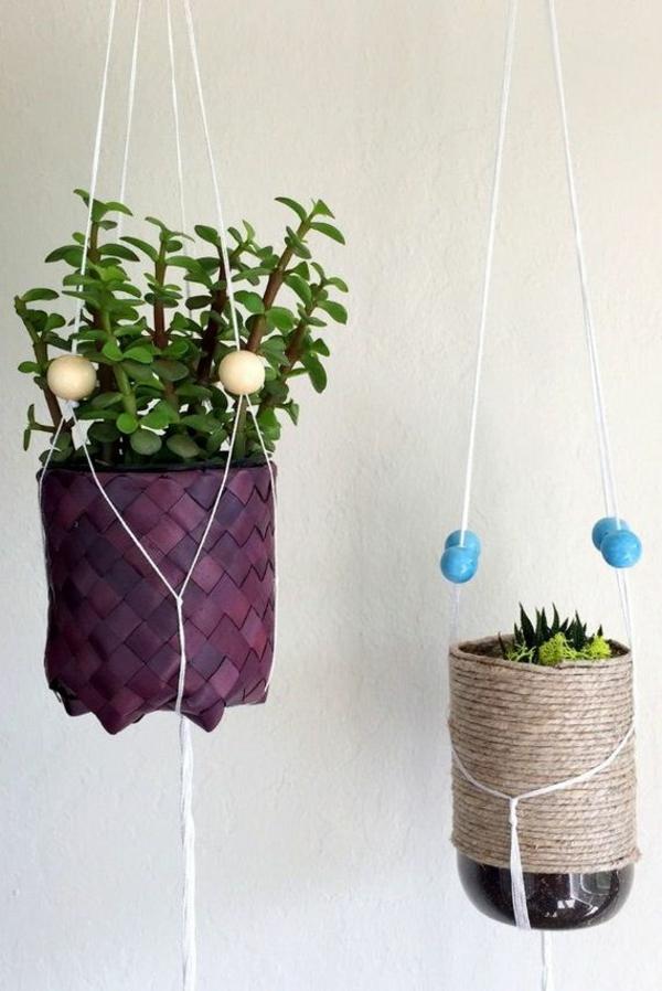 jardinière suspendue à fabriquer soi-même bouteille en plastique corde