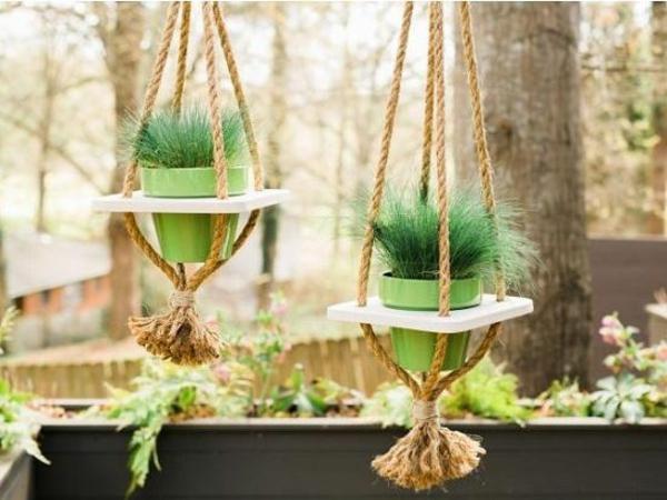 jardinière suspendue à fabriquer soi-même corde bois