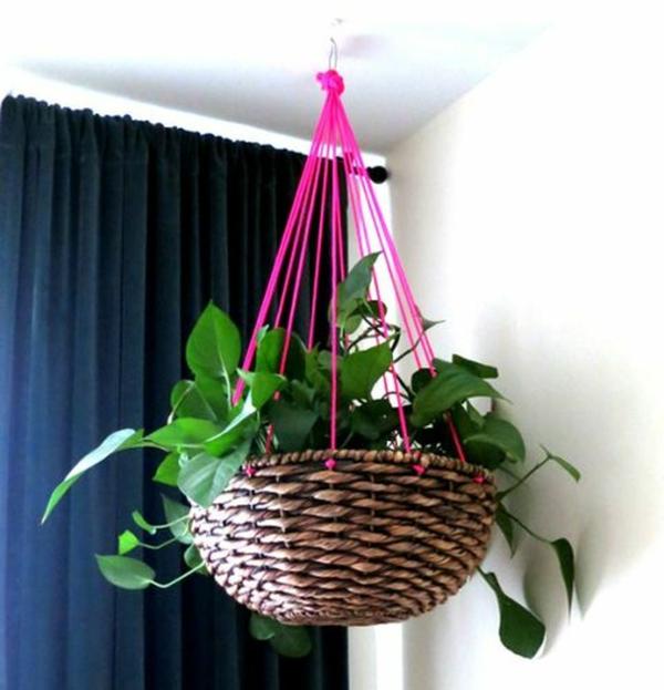 jardinière suspendue à fabriquer soi-même corde panier en osier