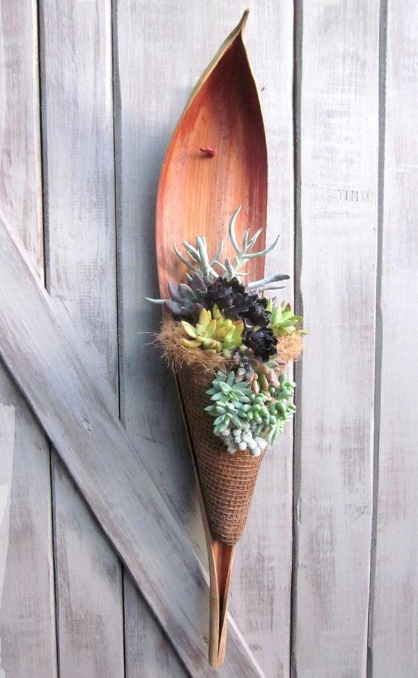 jardinière suspendue à fabriquer soi-même feuille de palmier toile de jute paille