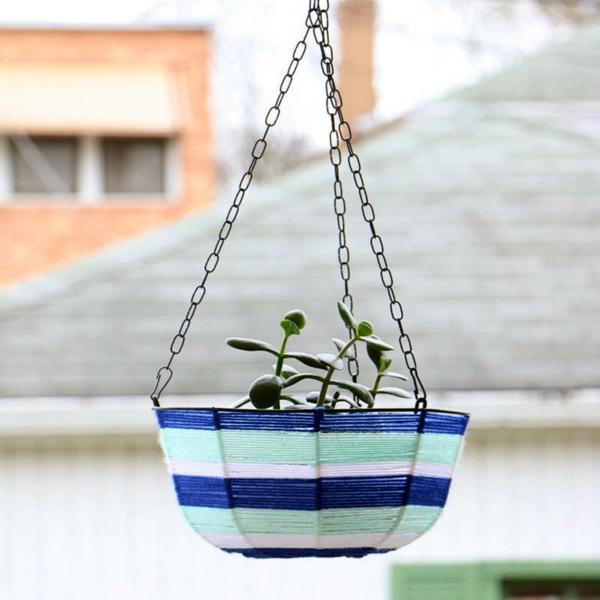 jardinière suspendue à fabriquer soi-même fil à tricoter métal