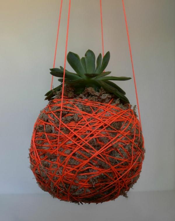 jardinière suspendue à fabriquer soi-même kokedama