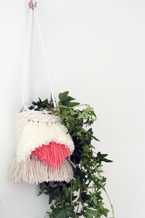 jardinière suspendue à fabriquer soi-même macramé fil à tricoter