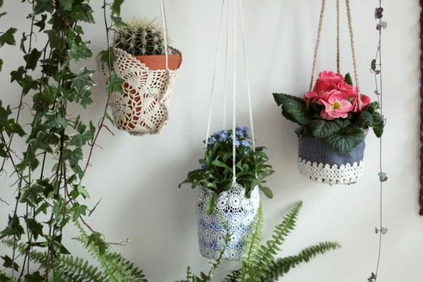 jardinière suspendue à fabriquer soi-même napperon en dentelle corde