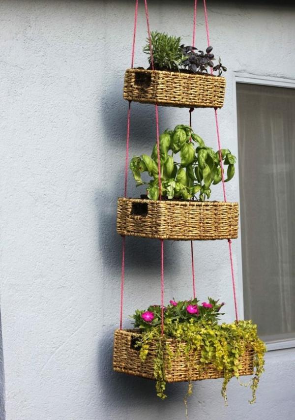 jardinière suspendue à fabriquer soi-même paniers en osier corde