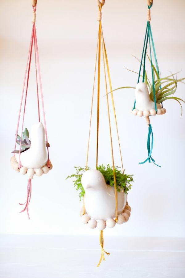 jardinière suspendue à fabriquer soi-même perles en bois corde