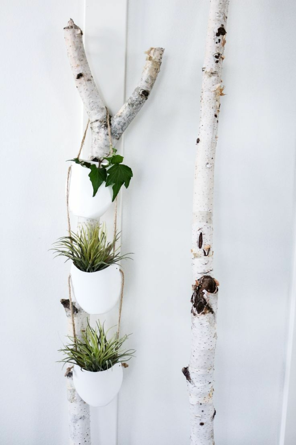 jardinière suspendue à fabriquer soi-même pot en plastique bois corde