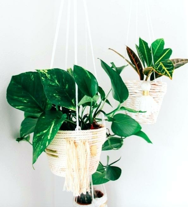 jardinière suspendue à fabriquer soi-même pot en plastique corde