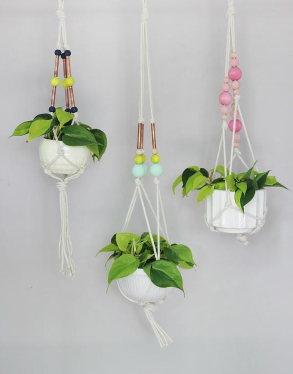 jardinière suspendue à fabriquer soi-même pot en porcelaine macramé
