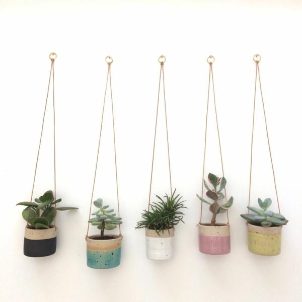 jardinière suspendue à fabriquer soi-même pots en béton