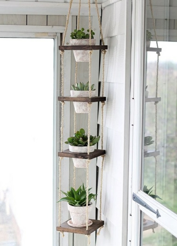 jardinière suspendue à fabriquer soi-même pots en ciment corde bois