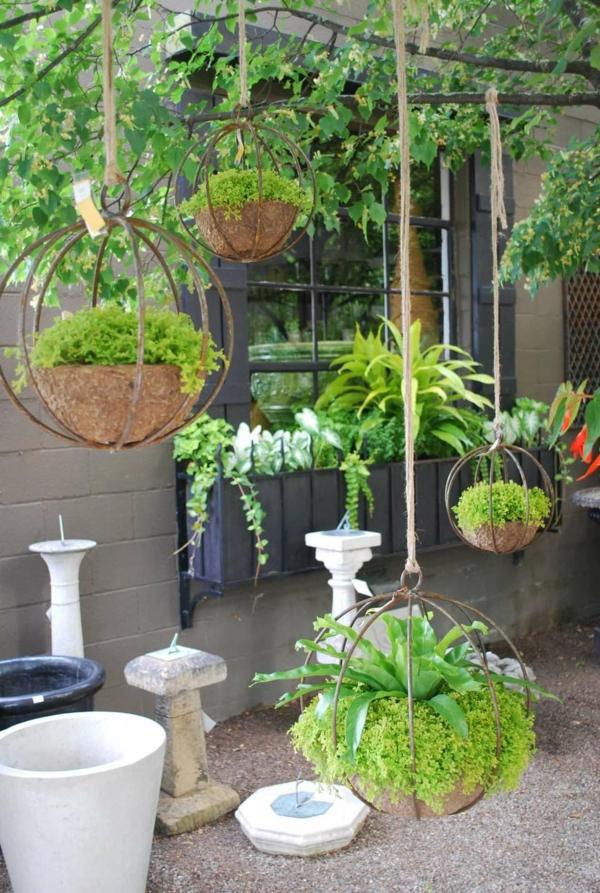 jardinière suspendue à fabriquer soi-même tourbe de coco métal