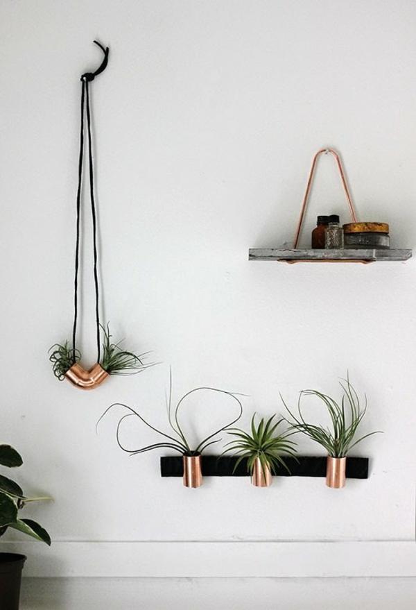 jardinière suspendue à fabriquer soi-même tubes en cuivre