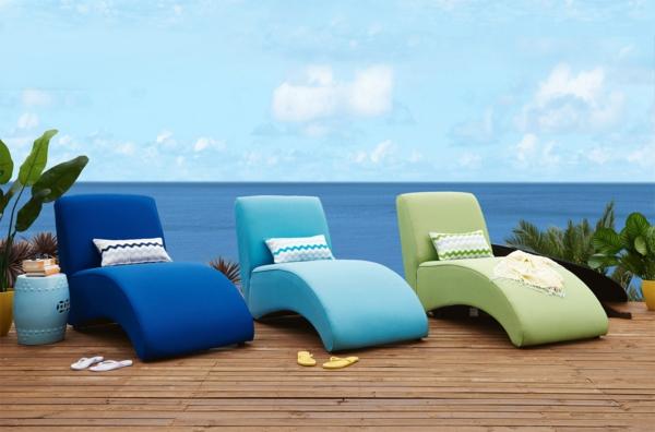modèle de chaise longue d'extérieur bain de soleil rembourré luxe