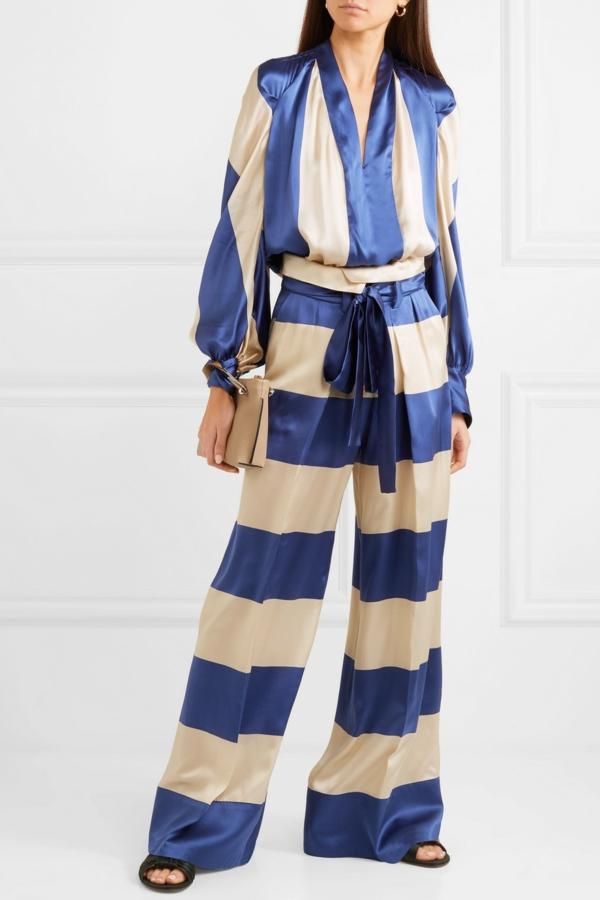 pantalon fluide à rayures blanc crème et bleu foncé