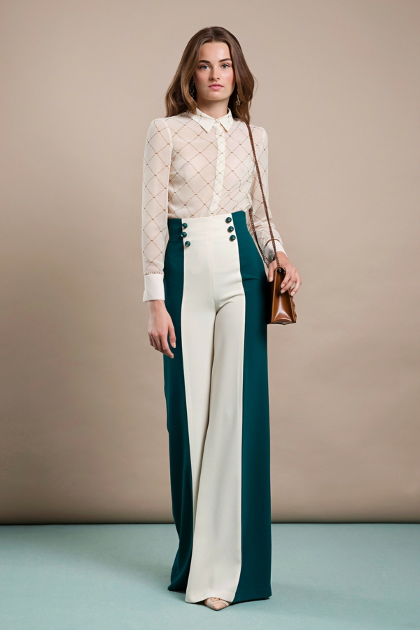 pantalon fluide élégant avec boutons taille haute chemise brodée en soie