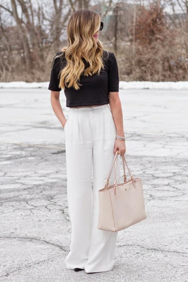 pantalon fluide blanc crop top noir manches courtes