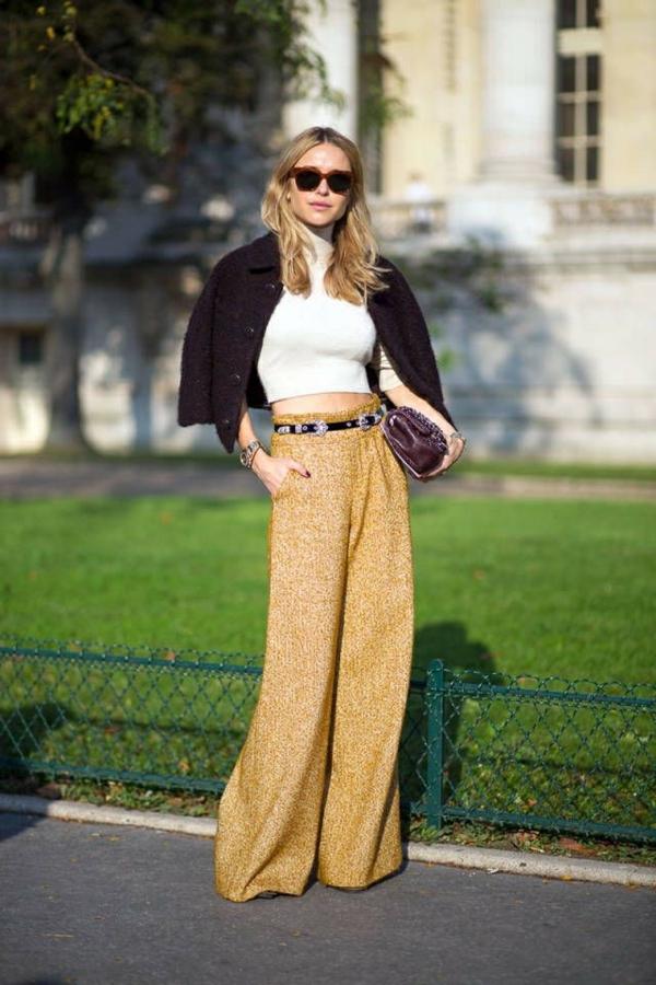 pantalon fluide chic palazzo crop top blanc à col haut