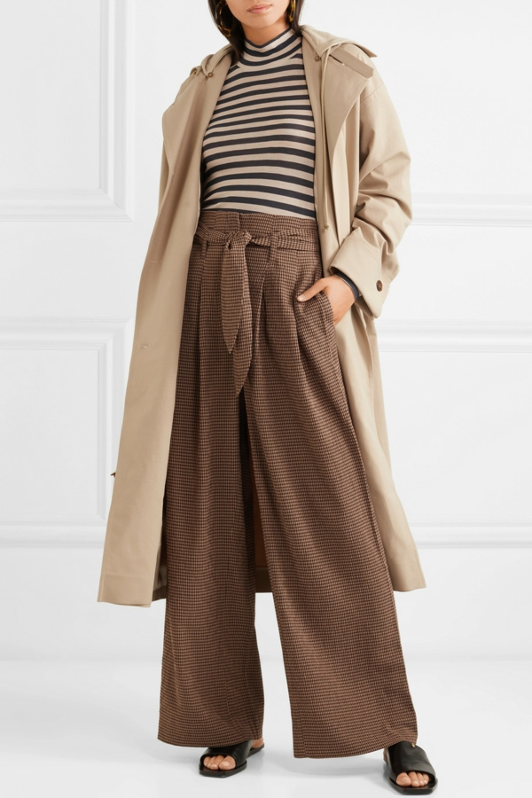 pantalon fluide extra large manteau beige long