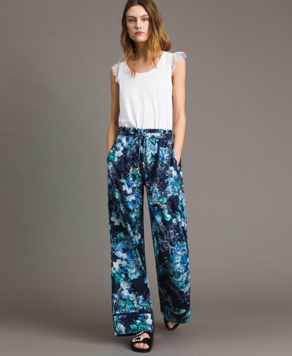pantalon fluide fleuri top blanc sans manches
