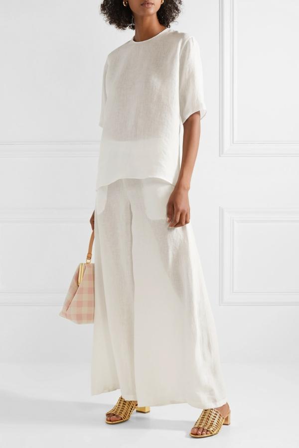 pantalon fluide jupe culotte en lin blanc chemisier ample