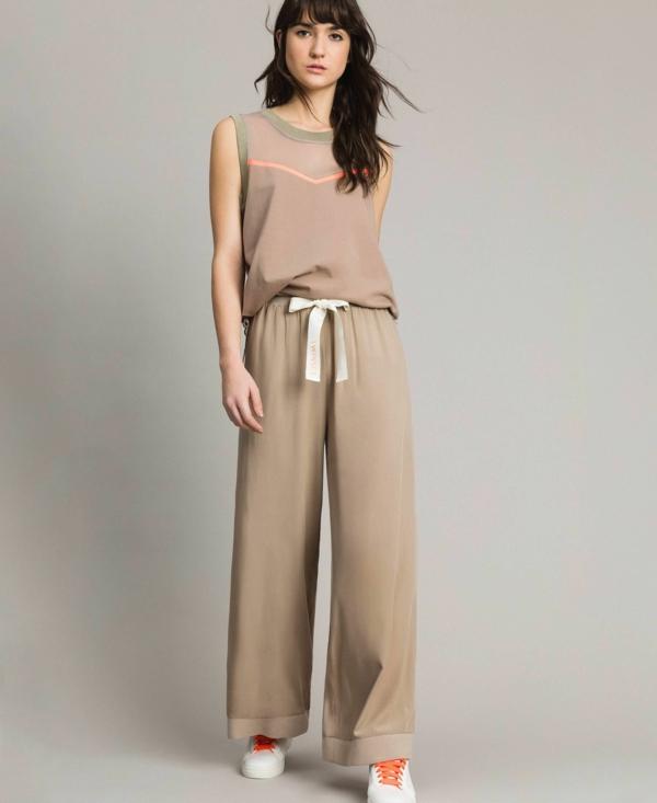 pantalon fluide taupe ourlet large avec ceinture