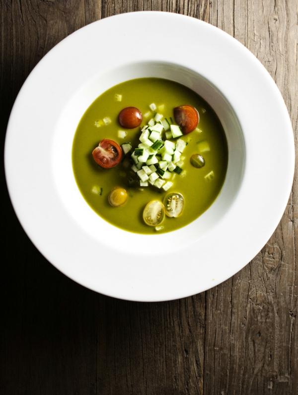 recette gaspacho vert courgette basilic épinard persil