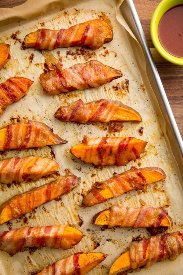 recettes délicieuses avec de la patate douce Frites de patates douces au bacon
