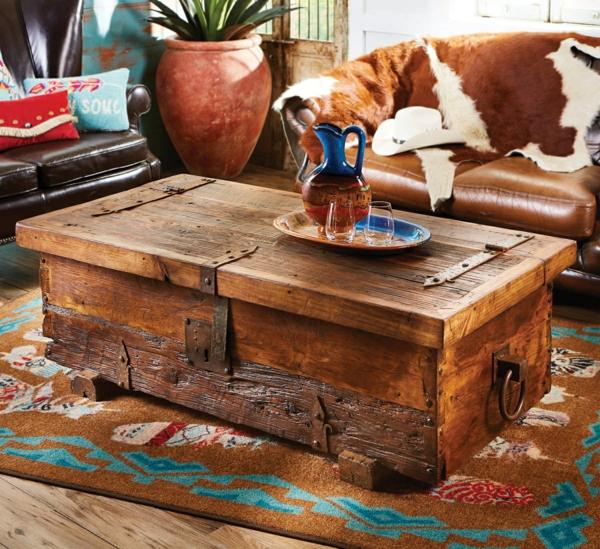 salon déco rustique table basse coffre