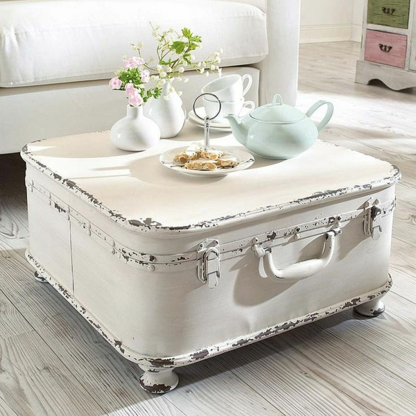 table basse coffre salon blanc shabby chic