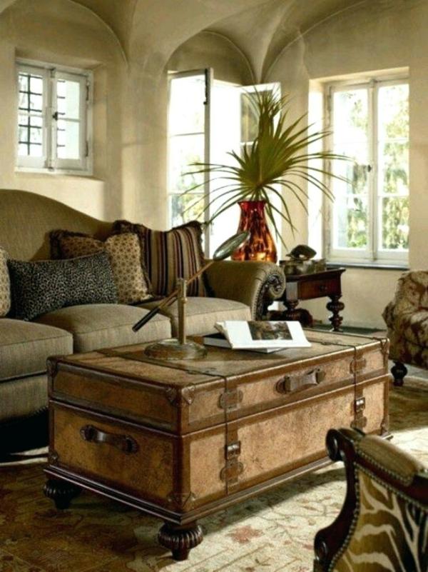 table basse coffre salon déco safari