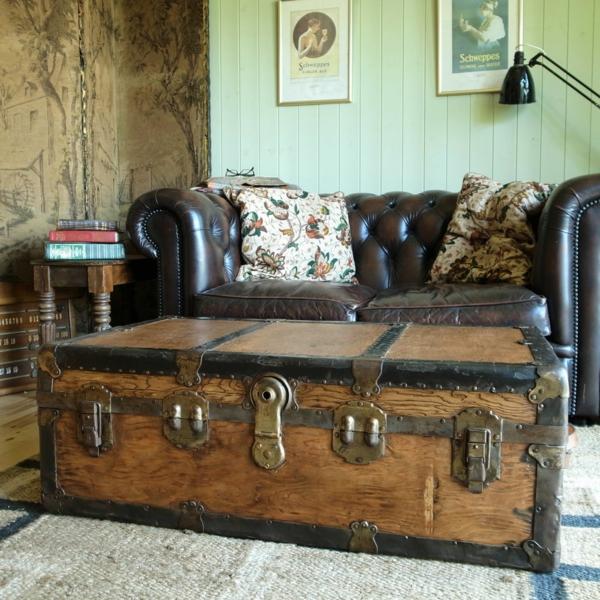 table basse coffre salon rustique